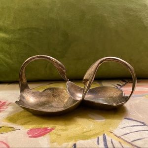 Vintage Silver Plated Double Swan Dish